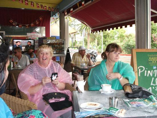 BQ Belvedere Hotel: my other beautiful sister on the right with her rain mac on 2nd dreadful day of rain