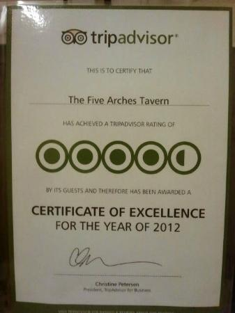 The Five Arches Tavern: Thankyou to all our reviewers for helping us to achieve this