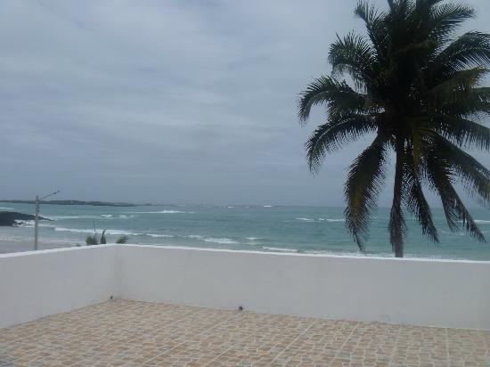 Casa Los Delfines: vista a la playa desde la terraza