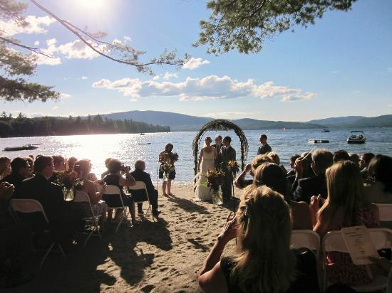 Inn on Newfound Lake: The Wedding Ceremony on the Inn's Private Beach on Newfound Lake