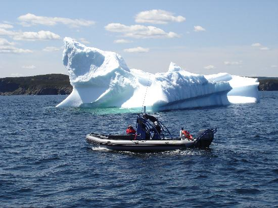 Sea of Whales Adventures: Our zodiac with an iceberg.