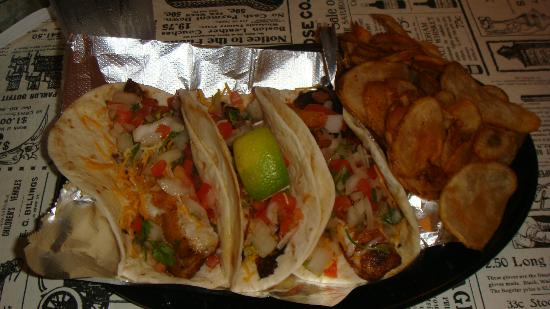Sumter, SC: Tilapia fish tacos. Came with homemade seasoned chips. Yum. $9.99
