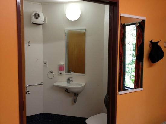 YHA Franz Josef: Small bathroom, strong shower!