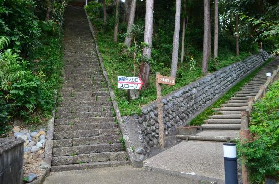 Koyama Castle: 小山城に行く石段・右が女坂