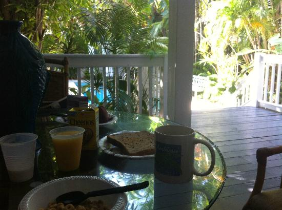 Ambrosia Key West Tropical Lodging: Breakfast (which is free) on my own veranda