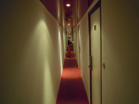 Hotel Restaurant Palm Beach : Couloir d'accès aux chambres flippant (il ne faut pas être gros !).