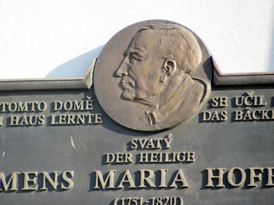 Wenceslas Square: comorotive plaque for Clement Hofbauer