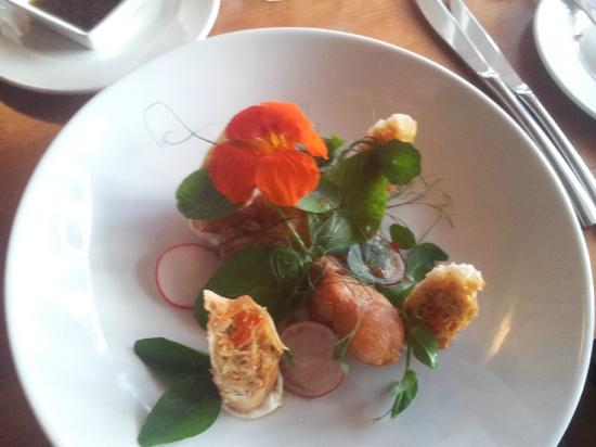 Porthleven, UK: Scallops and crab spring rolls