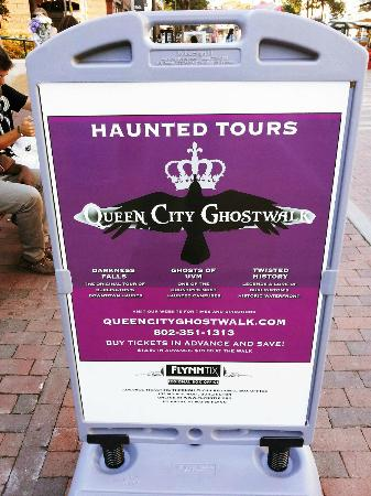 Queen City Ghostwalk: Sign outside City Hall