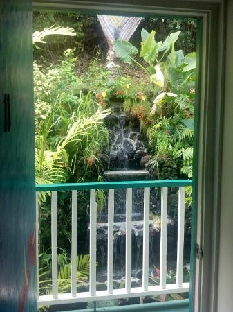 Garden Island Inn Hotel: The waterfall in the back as seen out our room door.