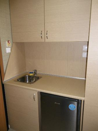 Maria Apartments : Kitchenette (portable hob in cupboard)