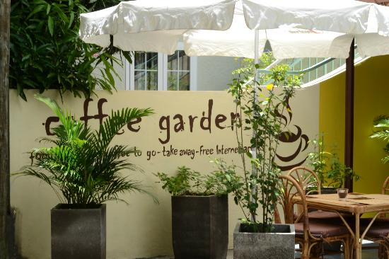 The welcome that greets you at the coffee garden picture for Terrace 45 scout santiago
