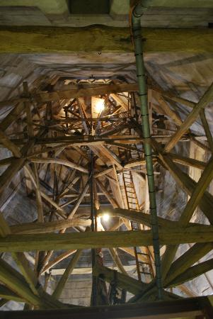 Salisbury, UK: Medieval scaffolding inside the spire