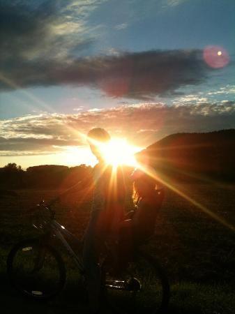 Sites et Paysages Camping Au Clos de la Chaume : Sunset over Corcieux - beautiful!
