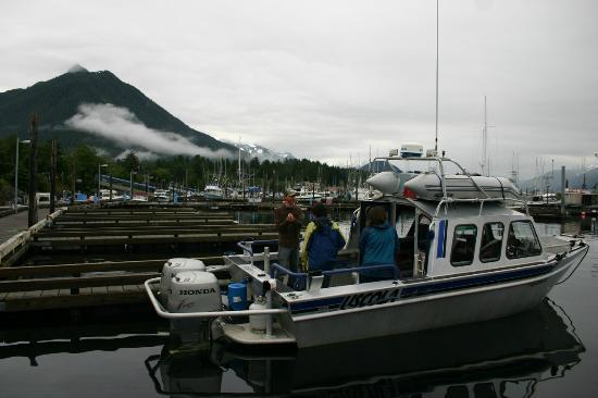Aquatic Alaska Adventures: Captain Ryan and trusty craft in Sitka.