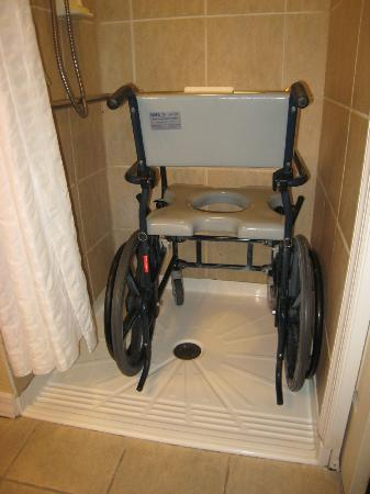roll in shower with our shower chair inside - Picture of Wyndham ...