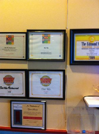 Dot WO Restaurant: some of the awards
