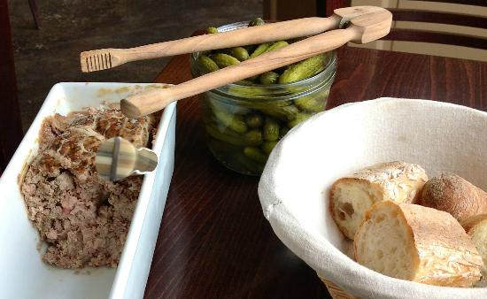 La Regalade Saint-Honore : To start ..terrine, crusty bread and cornichons