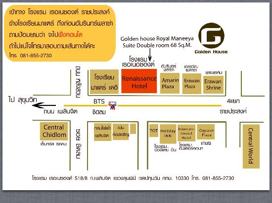 Golden House: Location map in thai and the contact number of the hotel
