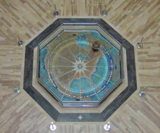 Lexington Public Library Ceiling Clock and Foucault Pendulum Photo