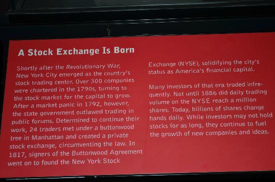 Museum of American Finance: How Stock Exchange is born?