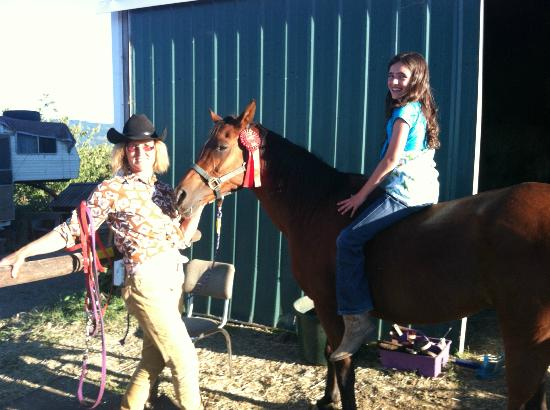 Double Mountain Ranch: Margo and my daughter with horse named Bint