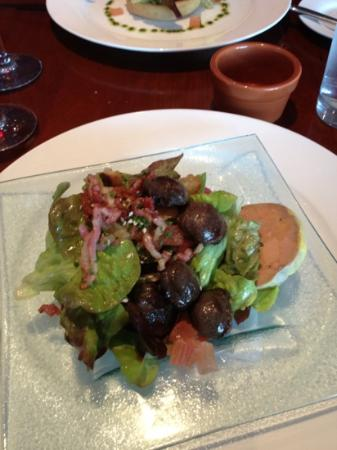The French Table: duck confit and foie gras salad