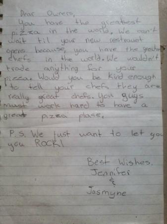 Lotsa Pasta & That'za Pizza: That'za Pizza award letter written by young fans Jennifer & Jasmyne