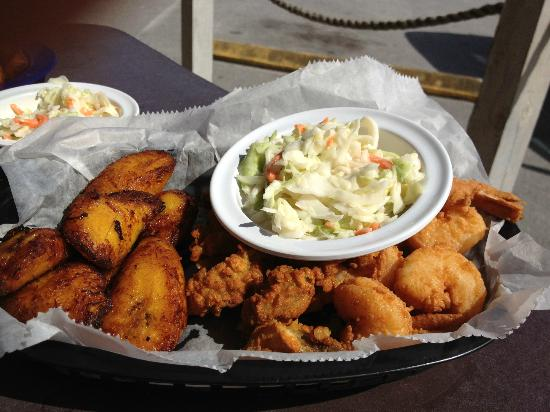 Mango Marley's: Delicious fried sweet plantains (on the right) - a must-try.