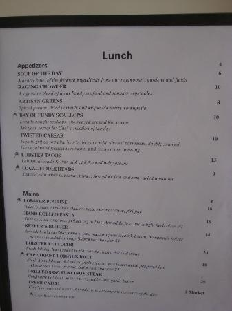 Cape House Restaurant: Lunch menu in August 2012