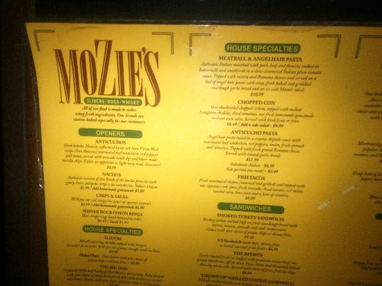 Mozies Bar & Grill : Exterior menu is posted outside so you can see what is up