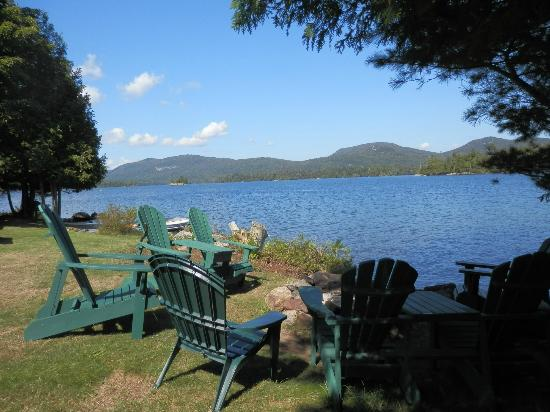Prospect Point Cottages - Blue Mountain Lake: The firepit area in front of waterfront cottage