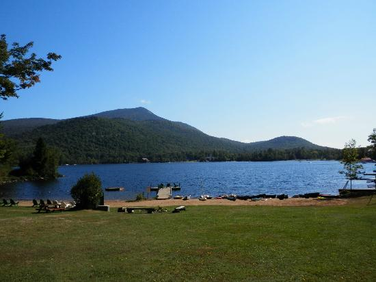 Prospect Point Cottages - Blue Mountain Lake: Beach area and mountain view