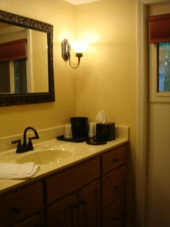 Jonathan Creek Inn and Villas: sink area outside of toilet/shower area (and door to porch)