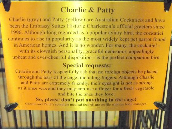 Embassy Suites by Hilton Charleston - Historic Charleston: Story of the lovebirds in lobby