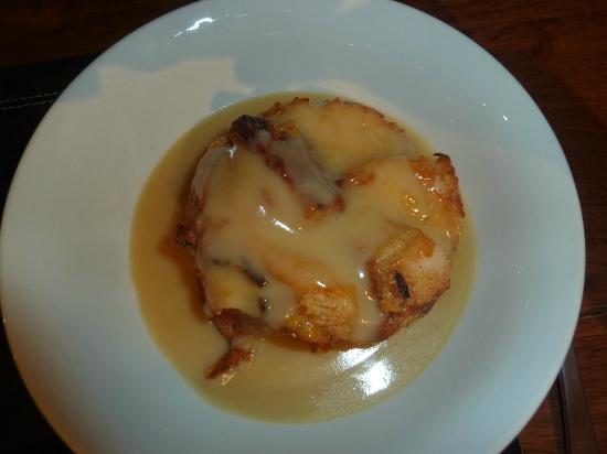 Snowy Wilderness: Italian bread pudding with Amaretto sauce