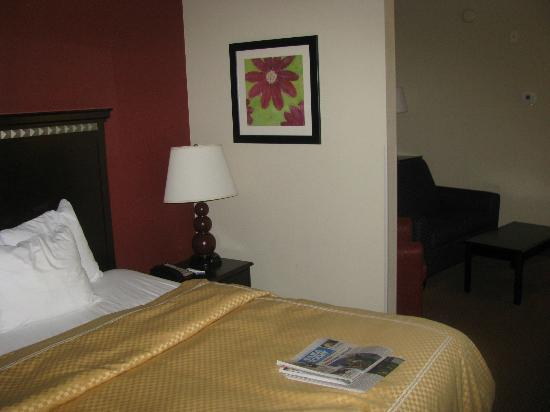 Comfort Suites: Divider Between sitting area and bed