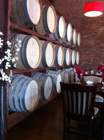 The Cellar Restaurant: The wine barrels create an interesting wall!
