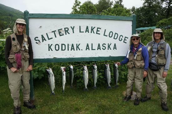 Our catch before lunch at Saltery Lake Lodge