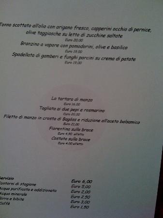 Il Lorenzaccio: il menù