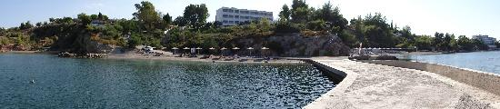 Agios Minas, Grecja: Panoramic view of the two sandy beaches
