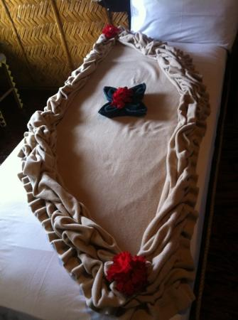 Palau Plantation Resort: 毎日違うベッドメイキング