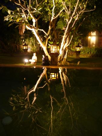 Villa Dermawan: Night View of Pool and Guest Room