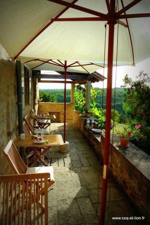 Coq et Lion : Terrasse avec vue sur le Quercy