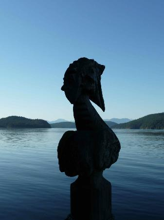 Desolation Resort: Wood carving looking from the dock onto Okeover Inldet