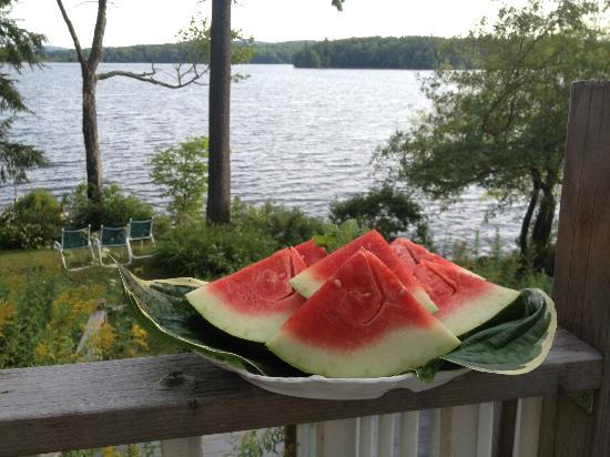 Loon Hollow Cottages: Greeted with watermelon
