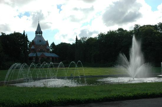 Szczecin, Central Cemetery - chapel with fountains