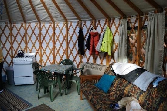 Orca Island Cabins: interior of yurt