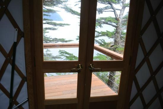 Orca Island Cabins: front door and deck