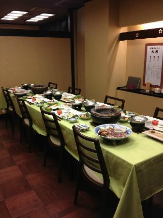 Kozuchi no Yado Tsurukame Daikichi: Our family's private traditional Japanese dining each evening with western chairs